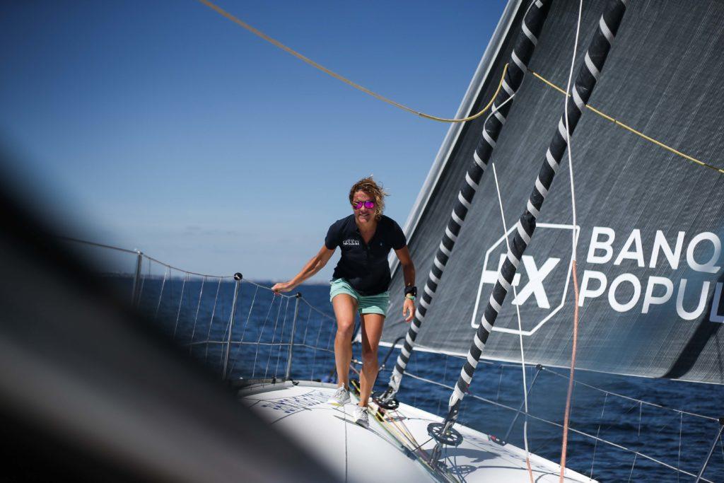 Sipa Press - La skipper Clarisse Cremer sur l'Imoca Banque Populaire X lors d'une navigation à Lorient le 29 juillet 2020, en vue du Vendée Globe 2020.